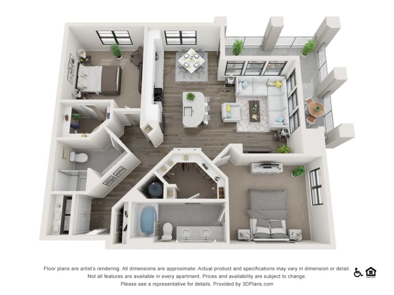 B2 floor plan - The Lodge at Hamlin apartments in Winter Garden FL